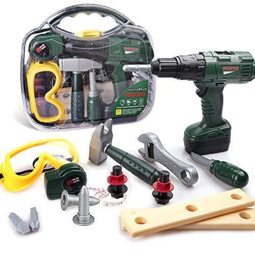 HomeMall Kids Tool Set, Toy Tool Set with Power Toy Drill Contains Tool Box and Toy Wrench, Hammer, Goggles and More Play Tools Accessories, Preschool Education Learning Toy for Boys and Girls Age 3+