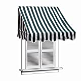 ALEKO 8x2 Feet Green/White Stripe Window Awning Door Canopy 8-Foot Decorator Awning