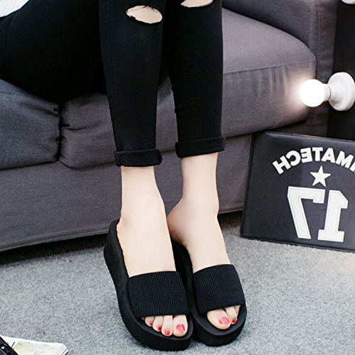 CWJDTXD Zomer Slippers Dames Zomer high-Heeled Wave Point flip-Flops Sponge Bottom Foam Light Anti-Slip Sandalen en Slippers Dikke Sandalen 38 Sole - Smaller One Glamour Black With Height 5 Cm