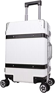 SMLCTY Cabin Luggage,hand Luggage Suitcases,Mute Caster 4 Wheel Portable Aluminum Frame TSA Customs Password Box Large Capacity Travel Boarding (Color : White, Size : 26 inches)