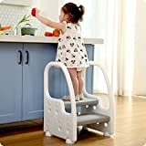 Height Adjustable Two Step Standing Stool with Handles Non-Slip Safety for Toddlers Children Kids Potty Training Kitchen Tower, Mangohood
