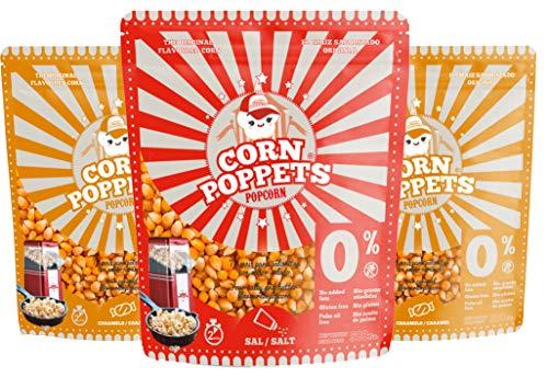 3x 500 g Premium-Popcorn-Mais. Mit Geschmack SÜSS und SALZIG für Airpop Heissluft Popcornautomaten. Ohne Gentechnik. Zubereitung ohne Fett und Zucker (süss-salzig)