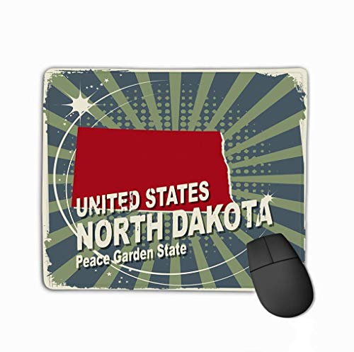 Mouse Pad Abstract Label Name map North Dakota Abstract Label Name map North Dakota Rectangle Rubber Mousepad