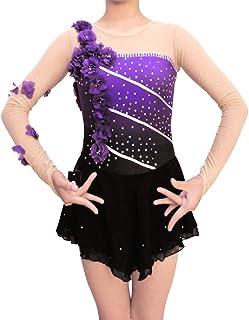 لباس اسکیت شکل یخ بنفش گرادیان - دخترانه برای خانمها دامن بدون آستین بلند بدون آستین غلتک دامن گل دکو…