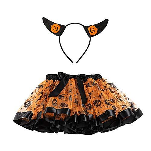 ZEZKT Lentejuelas Falda tutú de Malla + Diadema para 2-11 años bebé niña Falda Corta Pettiskirt Princesa Enagua de Tutu de Tul de Carnaval Fiesta Halloween Naranja 111
