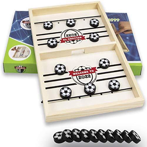 Generisch Hockey Brettspiel, Tisch Hockey Spielzeug, Tabula Hockey Spiel, Air Hockey Holzspiel, Katapult Brettspiel, Schnelles Sling Puck Spiel Eltern-Kind-Interaktionsspielset für Familienfeiern