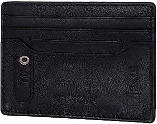 MAGICMK سليم الحد الأدنى من الجيب الأمامي منظم بطاقة RFID حجب جلد طبيعي محفظة بطاقة الائتمان للرجال