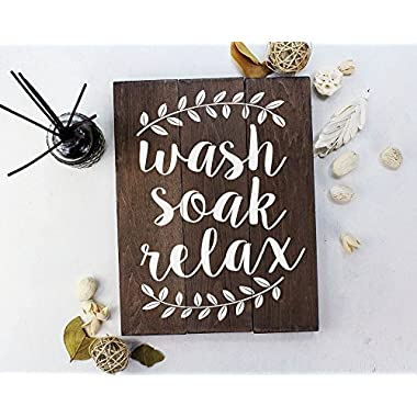 Elegant Signs Wash Soak Relax Wood Sign Bathroom Sign Bathroom Wall Art Bathroom Wood Sign Rustic Bathroom Decor (11 x 14 inch)