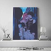 ゼロツーとヒロアニメ美的キャンバスポスター絵画壁アート装飾リビングルーム寝室家の装飾プリント50x70cm(19.7x27.6インチ)フレームなし
