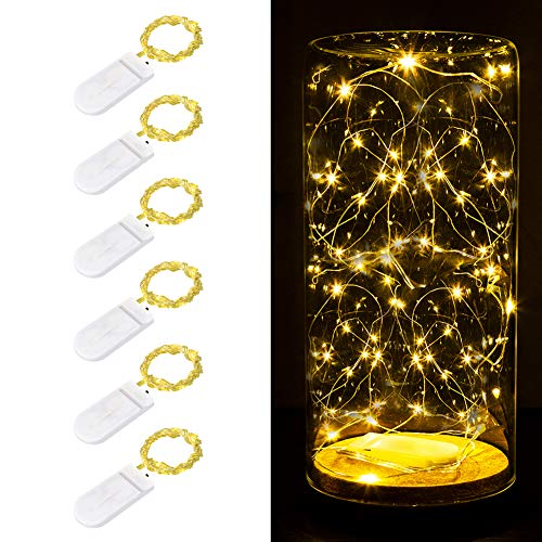 Koxly Fairy String Lights, 6 12 24 Pack 6.6ft 20 led Starry Light CR2032 Battery Included, Battery Operated for Bedroom Wedding Party Christmas Festival Decorations