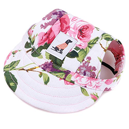 Sendgo Pet Dog Baseball Cap Adjustable Sun Protection Printed Breathable Soft Hat, Flowers, S