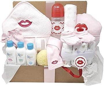 Mababyshop - Cesta para bebé Happy Kids, original regalo para bebés con divertidos labios y bigotes que lleva capa de baño, cepillo y peine, gorrito, patucos y productos de aseo de bebé… (Labios)