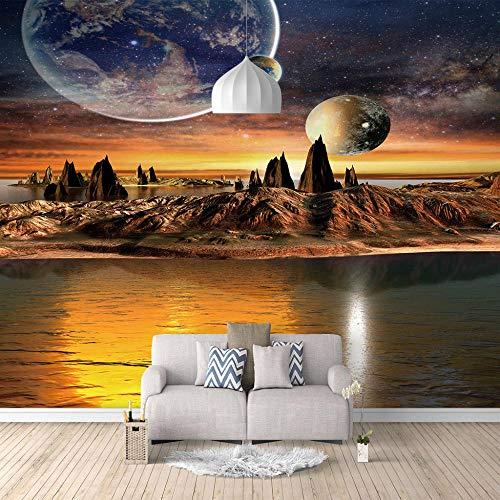 xczxc Foto Wandbild Wallpaper Fremder Planet Vlies Tapeten Moderne Wand Design Dekoration Wohnzimmer Schlafzimmer Büro Flur TV-Hintergrund HD-Druck 200 X 175 cm