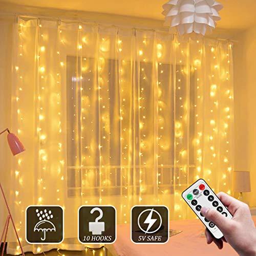 Lichtervorhang 3Mx3M, Sooair Vorhanglichter 300 LEDs USB Lichterkettenvorhang 8 Modi mit Fernbedienung Timer, IP65 Wasserfest lichtervorhang Aussen für Weihnachten Party Schlafzimmer Deko, Warmweiß