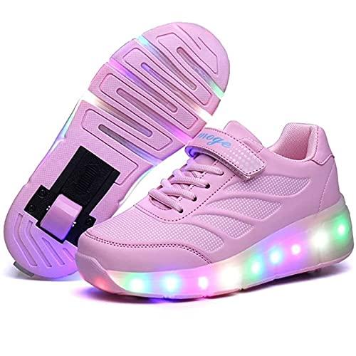 LHZHG LED Schuhe mit Rollen, Blinken Skateboardschuhe mit Rollen, mit Verstellbares Räder Skateboardschuhe Rollenschuhe, Skateboard Schuhe Outdoorschuhe Gymnastik Mode Turnschuhe für Junge Mädchen