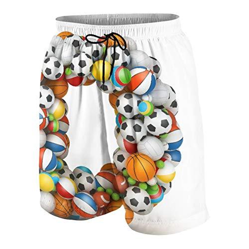 NOLOVVHA Hombres Personalizado Trajes de Baño,Letra D apilada del Alfabeto de Bolas de Juego,Casual Ropa de Playa Pantalones Cortos