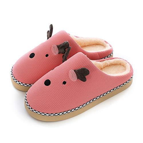 Zapatillas de algodón de espuma viscoelástica para mujer, más zapatillas de lana de terciopelo con suela de goma antideslizante, zapatos de punto para uso en interiores y exteriores