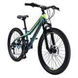 BIKESTAR Bicicleta de montaña de Aluminio Bicicleta Juvenil 24 Pulgadas de 10 a 13 años | Cambio Shimano de 21 velocidades, Freno de Disco, Horquilla de suspensión | niños Bicicleta Azul Verde