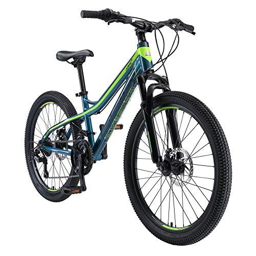 BIKESTAR MTB Mountain Bike Alluminio per Bambini 10-13 Anni | Bicicletta 24 Pollici 21 velocità Shimano, Hardtail, Freni a Disco, sospensioni | Blu e Verde