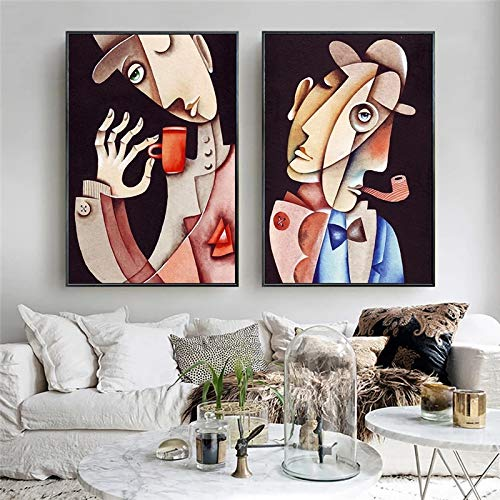 Print On Canvas Picasso Abstract Figure Painting Replica Posters and Prints Wall Art Pictures For Living Room Home Decor-60x80cmx2 No Frame
