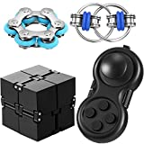 4 Pieces Fidget Toy Set Include Six Roller Chain, Fidget Key Infinity Cube Flippy Chain Fidget Pad Stress Reducer, Great Tool for Autism Stress and Anxiety Relief