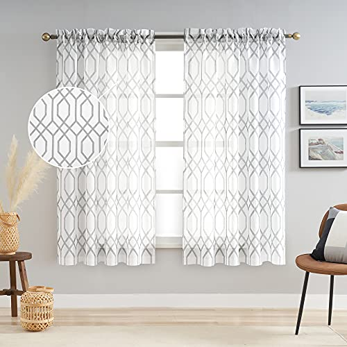 AUFENLLY Geometric Moroccan Patterned Sheer Curtains 63 Inch Length 2 Panels Faux Linen Modern Farmhouse Contemporary Sheer Curtains for Living Room Bedroom Rod Pocket 54 x 63 Inch 2 Panels, Grey