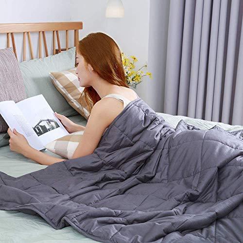 Gewichtsdecke Bettdecken Kuscheldecken Weighted Blanket Schwere Gewichtete Decke Anti Stress Ideal für Entspannung, Besseren Schlaf für Erwachsene und Kinder 6,8kg 122x183cm - Grau