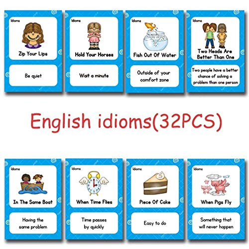 HONTOUSIP 32 PCS English Proverb Idioms Cards- Learning Picture & Word Card Flashcards(English Word Learning Card & Pocket Size Flash Card for Children And Preschool),5.35x3.62in