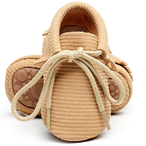 """HONGTEYA Leather Baby Moccasins Lace Up Rubber Sole Crib Toddler Boots Shoes for Boys and Girls (US5M 6-12Months 12cm 4.72"""" Infant, Brown)"""