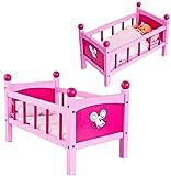 alles-meine.de GmbH Puppenbett aus Holz - 50 cm lang - incl. Bettzeug und Kissen - für Puppen - rosa Holzbett Bett Baby - Puppe - Puppenstockbett Puppenbettchen / Puppenbettzeug