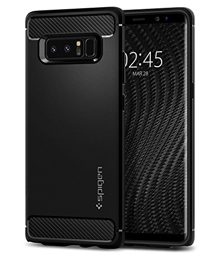 Spigen [Rugged Armor Samsung Galaxy Note 8 Hülle (587CS22061) Robuste TPU Silikon Schutzhülle Stylisch Karbon Design Handyhülle Hülle (Schwarz)