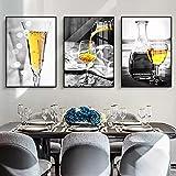 Cuadro de arte de pared de copa de vino amarillo, impresiones de pintura al óleo, póster, lienzo Modernoo, bar, restaurante, Decoraciónación de cocina, comedor, sala de estar, 32x52cmx3 sin marco