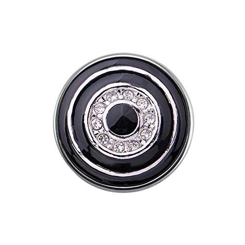Quiges Damen Click Button 18mm Chunk Kreise Schwarz mit Zirkonia für Druckknopf Zubehör