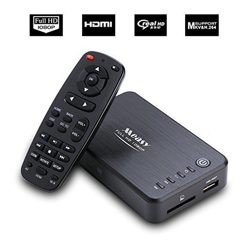 Mini lettore multimediale digitale Full HD 1080P, MKV, supporto per disco Blu-ray (MPEG-2, H.264 e VC-1), quasi tutti i formati audio e video, cavi HDMI e AV inclusi, telecomando