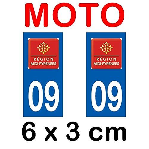 Autocollant plaque immatriculation moto dpt 09 Ariège