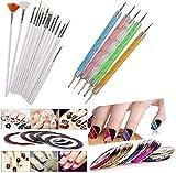 DALUCI 3d Nail Art Pen & Brush Painting Polish Design Kit 15 Nail Brushes,5 Nail Dotting Pen,10 Adhesive Nail Striping Tape (30 Pcs)