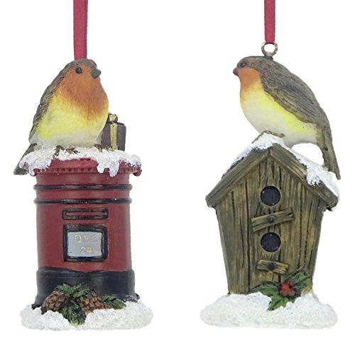ensemble de deux Luxe Rouge-gorge Décorations Arbre De Noël