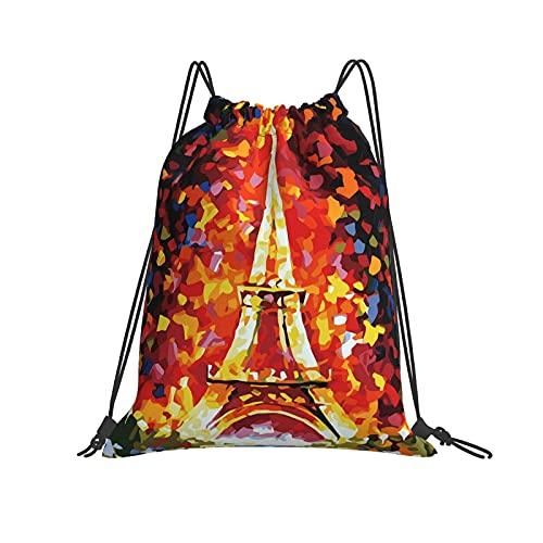 Mochila con cordón para pintura al óleo de la Torre Eiffel, deporte, gimnasio, senderismo, yoga, natación, viajes, playa, para mujeres y hombres