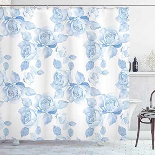 ABAKUHAUS Rose Duschvorhang, Floral Dreamy AST, Personenspezifisch Druck inkl.12 Haken Farbfest Dekorative mit Klaren Farben, 175 x 180 cm, Weiches blau-weiß
