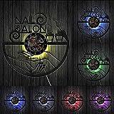Salón de Vinilo Reloj de Pared salón de Belleza decoración Muebles Reloj de Pared diseño de uñas Chica Colgante de Pared decoración Regalo