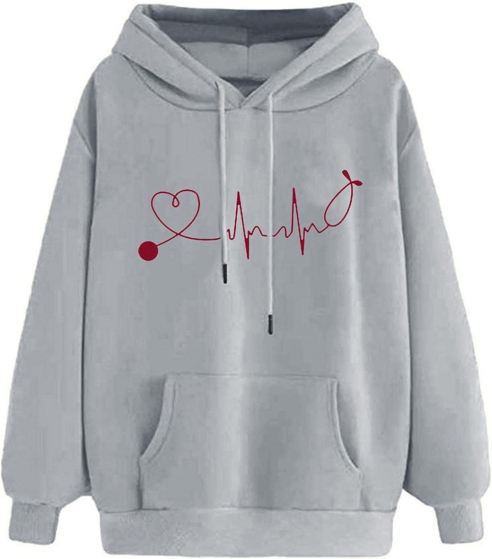 Aniwood Sweatshirts for Women, Womens Long Sleeve Red Heart Print Hooded Sweatshirts Teen Girls Casual Loose Tops Shirts