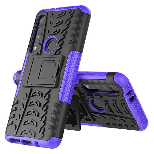 MRSTER Moto One Macro Custodia, [Heavy Duty Protezione] [Dual Layer] Difficile Silicone Kickstand Ibrida Shock Proof Cover Custodia Compatibile Motorola One Macro. Hyun Purple