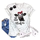 HDLTE Womens Not Today Heifer Shirt Short Sleeve V-Neck Funny Casual Tank Tops Shirt Size L (White)