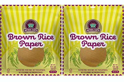 Brown Rice Paper - Gluten Free, Non GMO, No Cholesterol, No Coloring, No Preservatives - Kosher - 3.5oz Resealable Bag (2-Pack)
