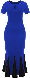 Ez-sofei Women's Vintage 1940s Keyhole Pencil Bodycon Fishtail Long Evening Dress