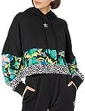adidas Originals womens Cropped Hoodie Black/Multicolor X-Large