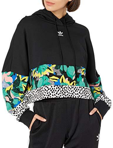 adidas Originals womens Cropped Hoodie Black/Multicolor Medium
