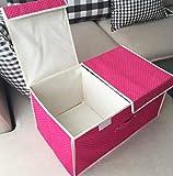 XXCKA Caja de almacenamiento de doble celosía, plegable, no tejida, con doble tapa, color 35 x 26 x 16 cm