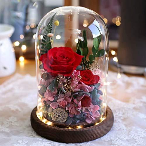 プリザーブドフラワー ギフト 枯れない花 ガラスドーム LEDライト付き ドライフラワー ギフトボックス・手提げ袋・メッセージカード付き ローズ バラー プリザ ケース入り 永遠の花 贈り物 母の日 お祝い 結婚祝い 開店祝い 記念日 誕生日 敬老の日 レ