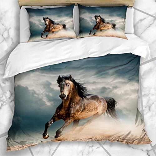 Juegos de fundas nórdicas Success Orange Run Wild Stallion Dust Wildlife Horse Beast Nature Grey Freedom Speed Gallop Power Ropa de cama de microfibra con 2 fundas de almohada Cuidado fácil
